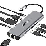 HUB USB C 9 in 1 Adaptador USB C HDMI 4K, Ethernet Rj45, 3 Puertos USB 3.0, Lector de Tarjetas SD/TF, Carga PD Tipo C y 3.5mm de Salida de Audio para MacBook Pro, Chromebook, XPS y Otros Dispositivos