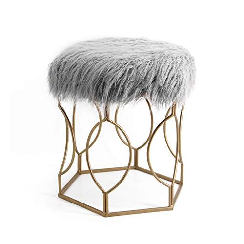Calyvina Home Long Fluff Vanity Stool Beauty Stool Makeup Dressing Chair Comfortable Shoe Stool (Weiß),Gray