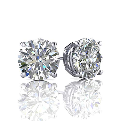 Web Gems 14k Solid Gold Swarovski Cubic Zirconia Stud Earrings – White Gold with Mushroom Back Silicone Sliders  Premium Quality  Brilliant Fashion Jewelry  6mm