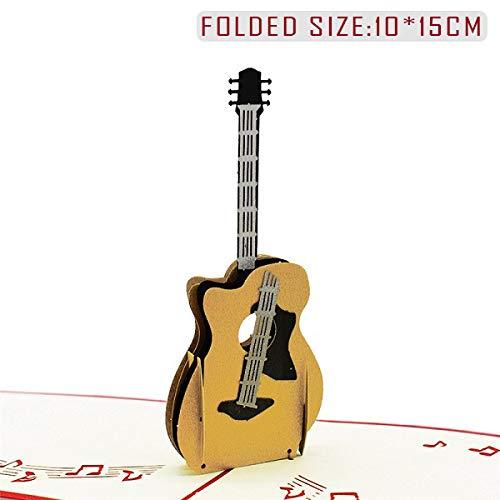 10 Stück Geburtstagskarte für Mädchen Kinder Frau Ehemann Geburtstagstorte Grußkarte 3D-Karten Postkarten Geschenke Karte mit Umschlag Aufkleber Gitarre