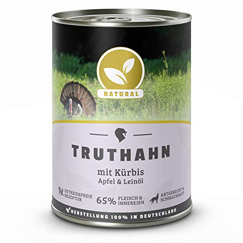 Hundeland Natural | Truthahn + Kürbis | 6 x 400 g | getreidefreies Hundefutter | Nassfutter für alle Hunderassen | viel frisches Fleisch | artgerecht & besonders gut verträglich