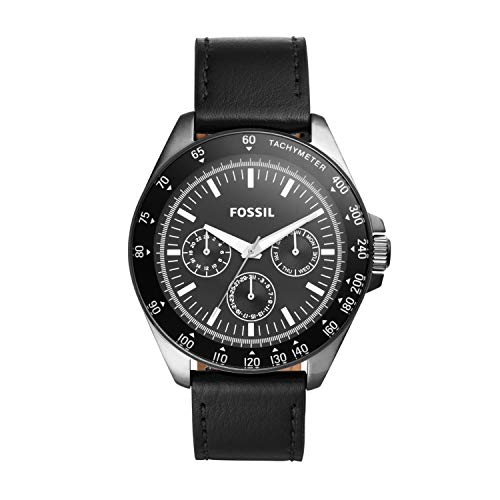 Fossil Men's Neale Quartz Stainless Steel and Leather Chronograph Watch, Color: Black (Model: BQ2293)
