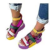 Aniywn Platform Sandals for Women Rainbow Sandals Open Toe Ankle Strap Flat Sandals Wedge Heel Colorblock Sandals Hot Pink