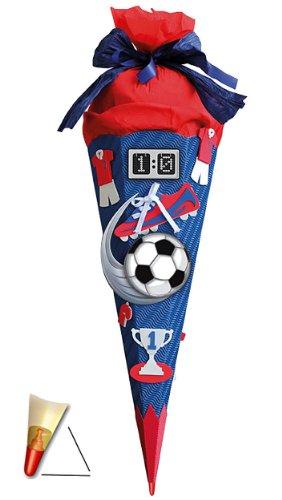 alles-meine.de GmbH BASTELSET Schultüte - Fußball 85 cm - mit Holzspitze - Zuckertüte Roth - ALLE Größen - 6 eckig Fußballer Fussball Sport Jungen rot blau