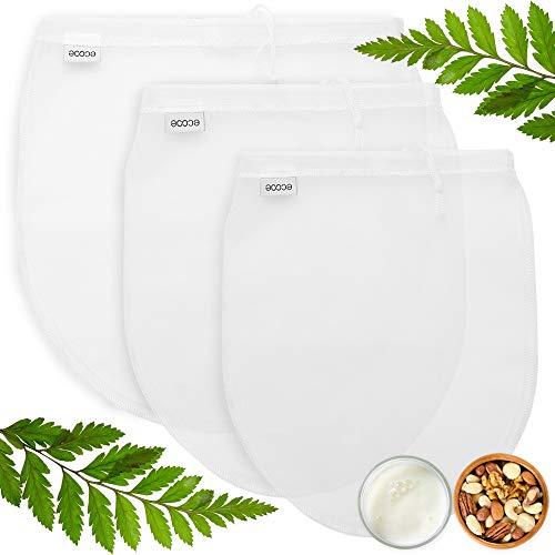ecooe 3 Stück Nussmilchbeutel für vegane Nussmilch Mandelmilch Haselnussmilch Feinmaschiges Passiertuch S M L Filtertuch für Obstsaft und Kaffee
