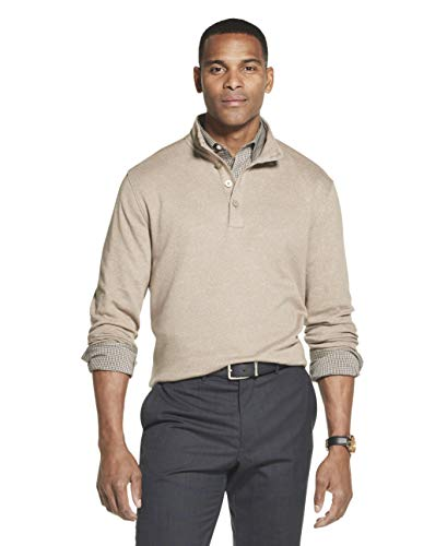 Van Heusen Men's Long Sleeve Never Tuck Jaspe Button Mock Pullover, Taupe Brindle Solid, Large