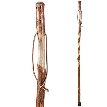 Hiking Walking Trekking Stick - Handcrafted Wooden Walking & Hiking Stick - Made in the USA by Brazos - Twisted Sassafras - 58 inches