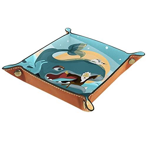 Bandeja de cuero, bandeja de joyería, organizador de almacenamiento de escritorio,Pájaro de luna azul ballena Bandeja de artículos diversos para cambio de teléfono con moneda y monedero con llave