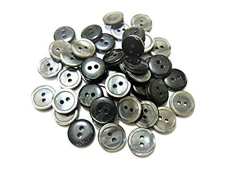 11.5mm グレー色系 縁あり 表2つ穴 ポリエステル系 ボタン 100個入り