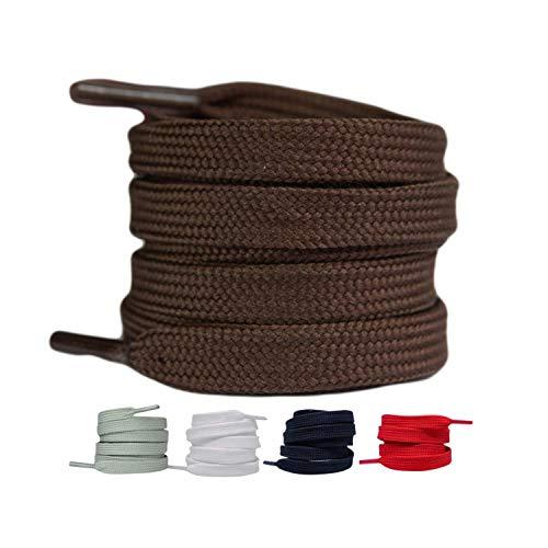 LaceHype 2 Paar - Premium Flache Schnürsenkel reißfeste Schuhbänder [10 mm breit ] Ersatz Shoelaces aus Polyester für Sneakers, Sportschuhe, Laufschuhe, Turnschuhe (Braun, 140)