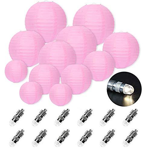 FullBerg ® 12er Rose Papier Laterne Lampions (Verschiedene Größen) mit 12er Warmweiße Mini LED-Ballons Lichter, rund Lampenschirm Hochtzeit Dekoration Papierlaterne