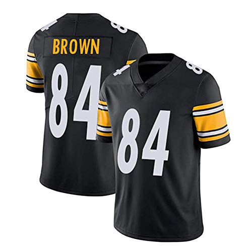 Hhwei NFL T-Shirt Pittsburgh Steelers 84# Antonio Brown Fußball Trikot Kurzarm Top Sportswear,S