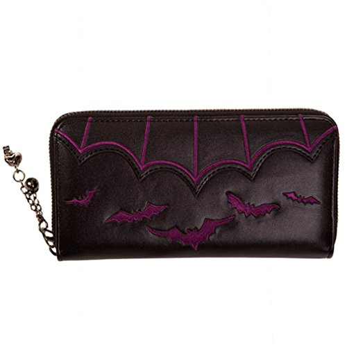 Banned Damen Geldbörse - Bats Portemonnaie Lila oder Weiss (Lila)