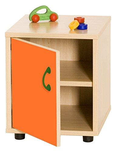 Mobeduc kindermeubel superlage kast met 2 legplanken, 360 cm, hout 36x40x44 cm Beuk en oranje