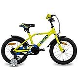 HILAND Adler - Bicicleta infantil de 16 pulgadas para niños a partir de 4 años, con ruedines, freno de mano y freno de contrapedal, color amarillo
