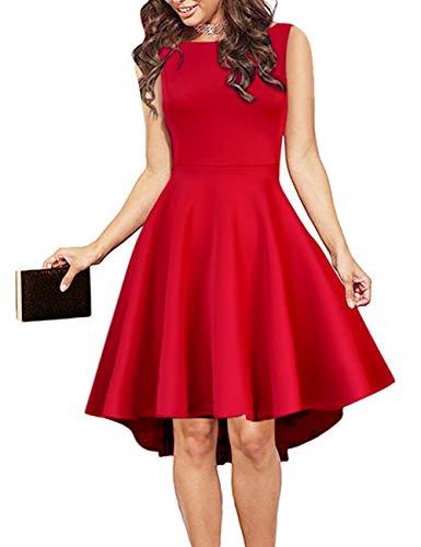Clearlove Damen Kleider Elegant Spitzenkleid Cocktailkleid Rundhals Knielang Rockabilly Kleid,Ärmellos Rot,M