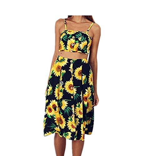 Affordable BXzhiri Summer Beach Dress Sleeveless Knee Length Sling Skirt Sundress Yellow