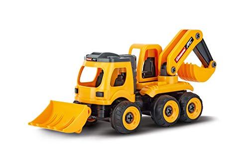 Carrera RC First Bagger - Backhoe Loader mit Controller I Ferngesteuertes Auto ab 3 Jahren für drinnen & draußen I Mini Spielzeugauto mit echtem Sound zum Mitnehmen I Spielzeug für Kinder & Erwachsene