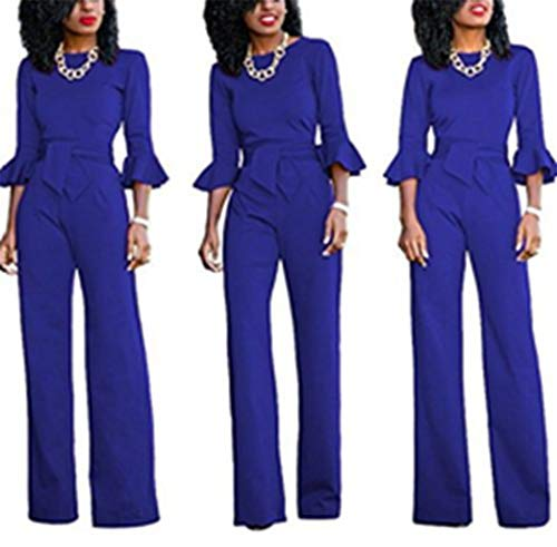 Buy Bargain Trendy Women Elegant High Waist Flared Wide Leg Jumpsuit(Blue,S)