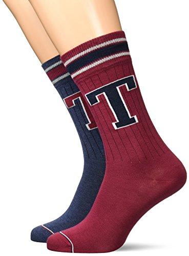 Tommy Hilfiger Herren MEN TH PATCH 2P Socken, Blau (Jeans 356), 43/46 (Herstellergröße: 043) (2er Pack)