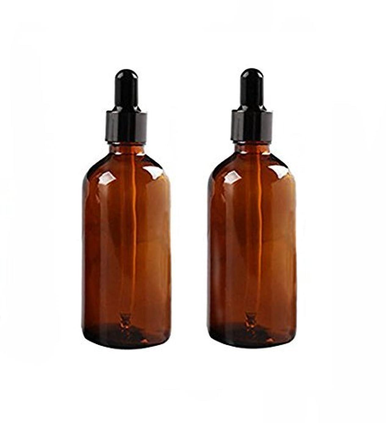 残高ロケーション謝罪する2 Pcs 100ml Empty Amber Glass Bottle with Glass Dropper for Essential Oil Formulas [並行輸入品]