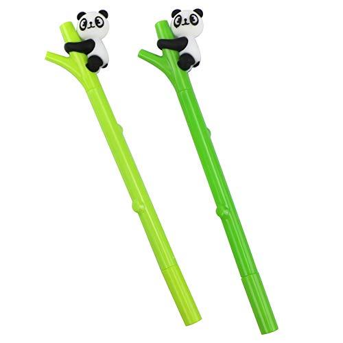 JUNGEN 2Pcs Pluma de gel de tinta negra del Forma de bambú con Linda panda decoracion Bolígrafos bonitos kawaii Oficina papelería pluma 0.5mm Color al azar
