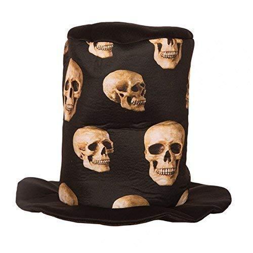 Lively Moments Cylindre/ Halloweenzylinder/ Tête de Mort Chapeau Noir avec Crânes pour Halloween/Carnaval/Accessoires pour Costumes
