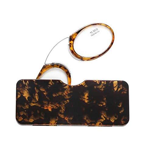 MMOWW Gafas de lectura unisex diseño de nariz de clip gafas de lectura portátiles diseño antideslizante gafas de lectura compactas(marrón,+1.5)