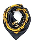 YOUR SMILE Silk Feeling Scarf Women's Fashion Pattern Black/Gold Chain Large Square Satin Headscarf (325)