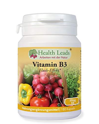 Vitamin B3 Niacin/Nikotinsäure (Flush-Effekt) 50mg 180 Kapseln, 6 MONATE VERSORGUNG, Frei von Magnesiumstearat & üblen Zusätzen, Hergestellt in Wales