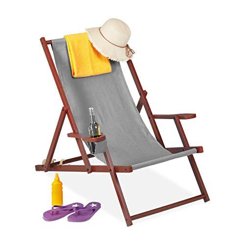 Relaxdays Liegestuhl Sedia a Sdraio Pieghevole in Legno, 3 Posizioni, con braccioli e portabibite, 120 kg, Colore: Grigio