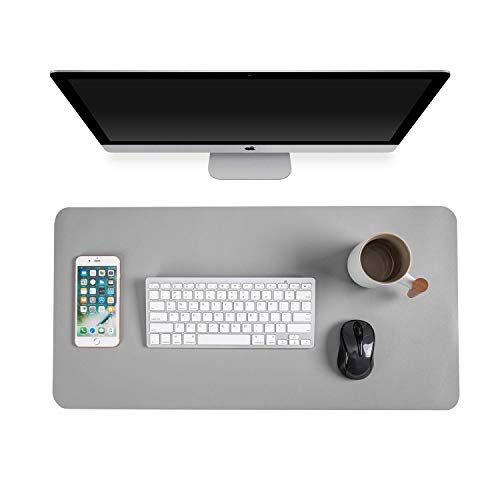 """Gogloo Multifunctional Office Desk Pad, Dual Sided PU Leather Mouse Pad, Thin and Waterproof Desk Blotter Protector, Desk Writing Mat for Office/Home (Gray, 23.6"""" x 12"""")"""