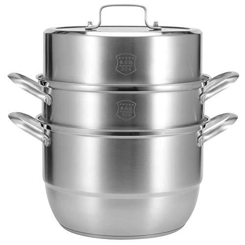 zyl Vaporera de Acero Inoxidable con Tapa de Vidrio ventilada para cocinar en casa - Juego de vaporera de 3 Capas 38 x 28 x 28 cm