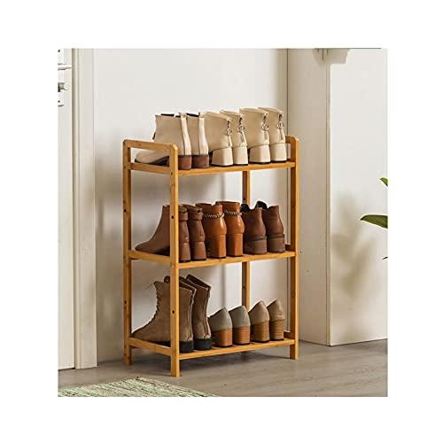 LYLY Zapatero de 3/4/5 niveles, para ahorrar espacio, estante de zapatos, organizador de almacenamiento para muebles para entrada, pasillo y zapatero (color : madera (3 niveles), tamaño: 50 cm)