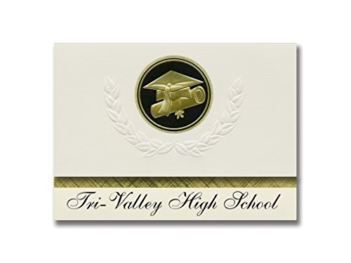 Signature Announcements Tri-Valley High School (Dresden, OH) Graduation Ankündigung, Presidential Style, Basispaket mit 25 Kappen und Diplom-Siegel, Schwarz/goldfarben