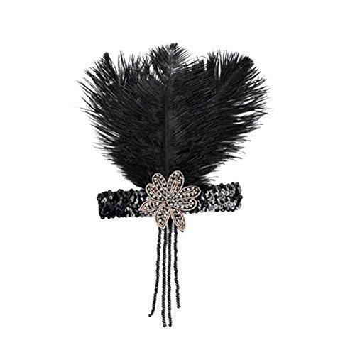 Lurrose Venda de la aleta negra venda de la pluma de la vendimia sombreros del traje de la aleta de los años 20 para las mujeres (negro)