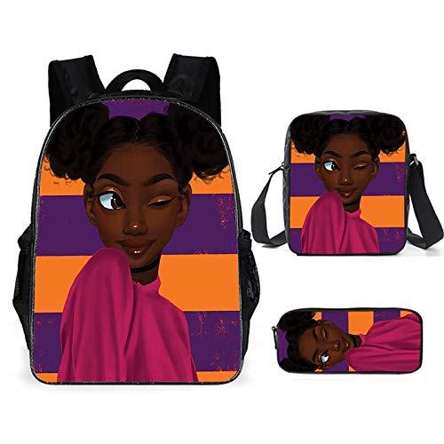 'Princesas africanas' Set de 3 piezas Mochila 3D estampada para niños + mochila escolar + estuche (A 25,40 cm x 15 cm x 30 cm)