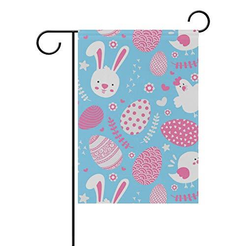 ALINLO Ostern Kaninchen Ei Huhn Muster Gartenflagge 30,5 x 45,7 cm Custom doppelseitige Hofflagge Polyester Hausbanner für Innen Außen Home Decor, Polyester, Mehrfarbig, 12x18(in)