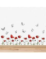 """Muurstickers""""Mohn bloemen plint wanddecoratie verwijderbare zelfklevende sticker kunst kinderkamer kleuterschool school kinderkamer restaurant bar café hotel woondecoratie"""