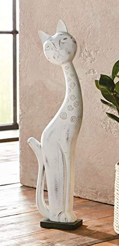 Skulptur Katze aus Holz, weiß, 60 cm hoch, im Used-Look, Shabby Style, Bali, Afrika, Deko-Figur