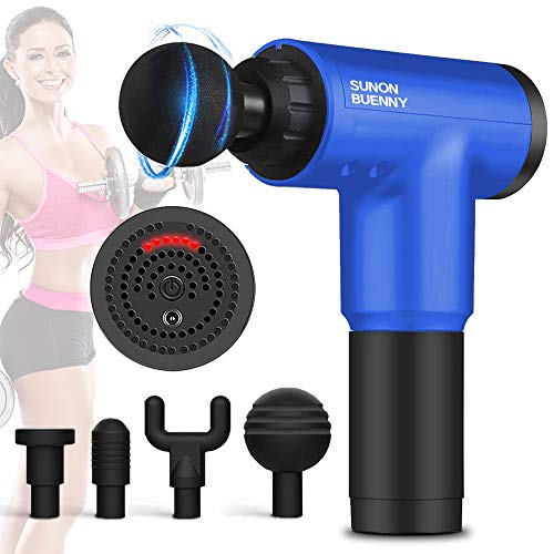 Deep Tissue Massage Gun with 6 Adjustable Speed 4 Detachable Massage Head, Cordless Handheld Deep Tissue Percussion for Deep Relaxation, Chargeable Percussion Device Quiet for Neck Back Muscle(Blue)