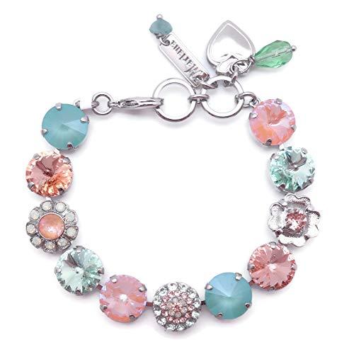Mariana Monarch Silvertone Bracelet Peach and Green Crystal Mix Rivoli Mosaic 1124