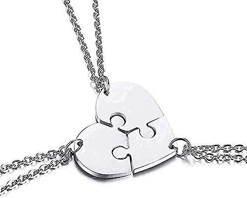 ZPPYMXGZ Co.,ltd Collar de Moda Conjunto de 3 Friends Forever BFF Collar Acero Inoxidable Puzzle Amistad Colgante Collar Regalo