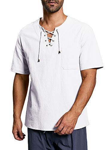 Herren Hemd Kurzarm Mittelalter Freizeithemd Mit Schnürung Regular Fit Baumwolle T Shirt Sommer Tops, A-Weiß, L