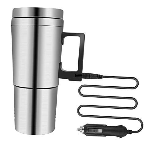 Amuzocity Hervidor eléctrico para coche, acero inoxidable, para hervir agua, taza de té, taza de café para oficina y hogar, plata de 12 V