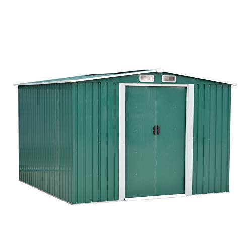 Panana Sheds 8 x 6ft Tool Storage House Metal Garden Apex Roof Storage Shed Door at 8ft side (Green)