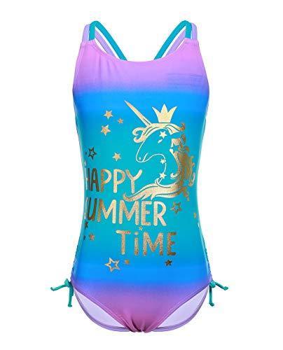 iDrawl Schwimmanzug Mädchen Sommer UV Schutz Badeanzüge mit Einhorn Drucken Bademode Größe XL