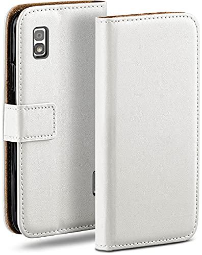 moex Klapphülle kompatibel mit LG Google Nexus 4 Hülle klappbar, Handyhülle mit Kartenfach, 360 Grad Flip Hülle, Vegan Leder Handytasche, Weiß