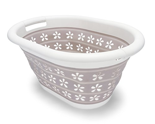 Camco White/Taupe Collapsible Utility/Laundry Basket – Perfect for Homes, Boats, and RVs – Easy Grip Carrying Handles - Foldable for Compact Storage,small - 51951