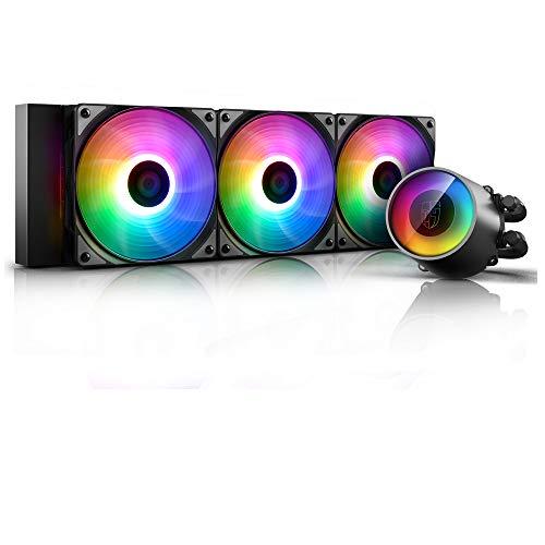 Deepcool Castle 360 Rgb V2 - Sistema de refrigeración antileak. Radiador de 360 mm. Disipador de líquido Rgb Rainbow Addressable 5 V Add Rgb de 3 pines, compatible con Intel 115X/2066 y Amd Tr4/Am4